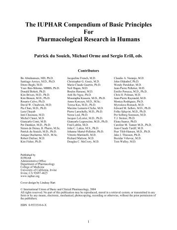 The IUPHAR Compendium of Basic Principles For Pharmacological ...