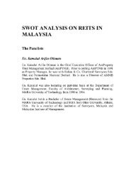 SWOT ANALYSIS ON REITS IN MALAYSIA The Panelists En ...