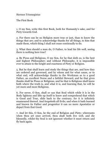 hermes trismegistus, book 1 - Holy Order Golden Dawn