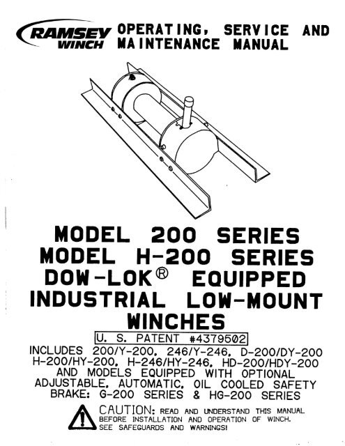 ramsey 200 or h 200 dow lok winch  h246 ramsey winch parts diagram