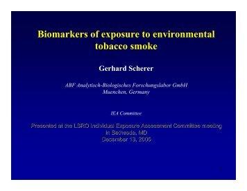 Biomarkers of exposure to environmental tobacco smoke