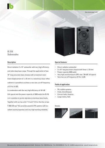 LB Datasheeet B 218.pdf - Lautsprecher