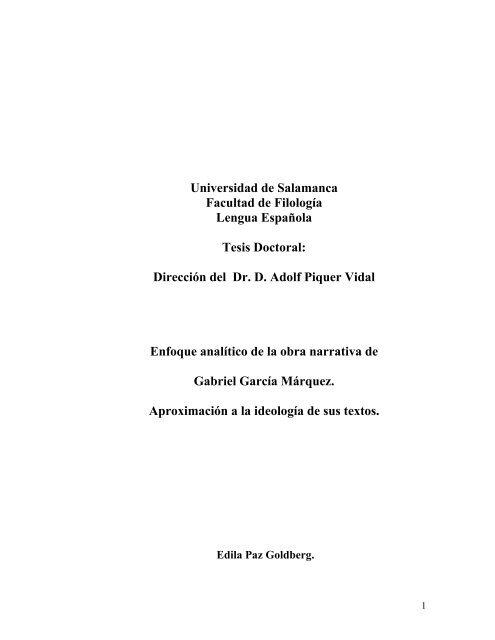 Dle Enfoque Analitico Obra Narrativa Gabriel Garcia Marquez