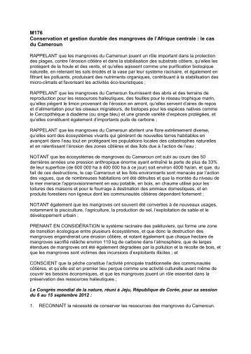 M176 Conservation et gestion durable des ... - IUCN Portals