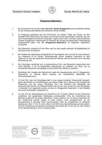 Dr. Brüggemann-Stipendium - Deutsche Schule Lissabon