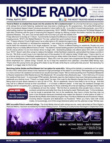 Friday, April 8, 2011 news INSIDE >>