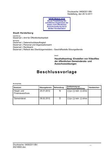 Vorlage des Oberbürgermeisters - Stadtpolitik Heidelberg