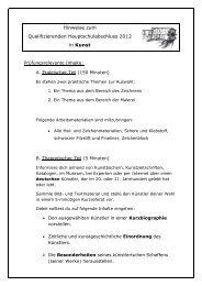 Hinweise zum Qualifizierenden Hauptschulabschluss 2012 in Kunst