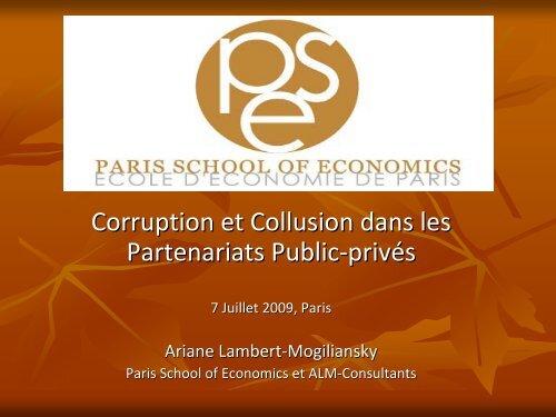 Présentation de Mme Lambert-Mogiliansky - Paris School of ...