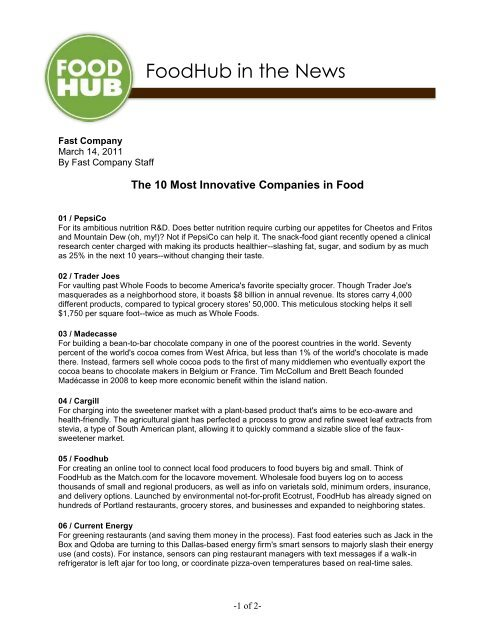 Top 10 Most Innovative Companies in Food - FoodHub