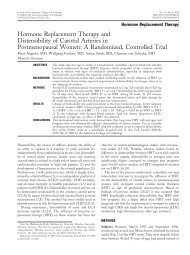 Hormone Replacement Therapy and Distensibility of Carotid ...