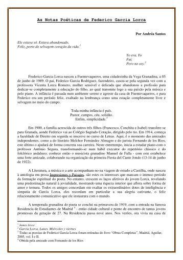 As Notas Poéticas de Federico Garcia Lorca (em ... - Jornal de Poesia