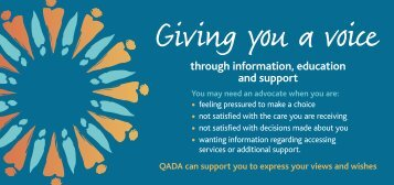 QADA general advocacy information card - Queensland Aged and ...