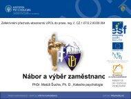 Nábor a výběr zaměstnanců - VTP UP