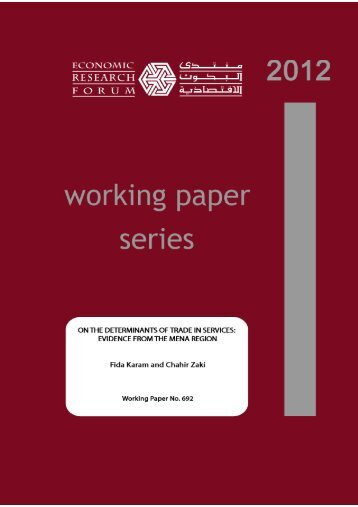 on the determinants of trade in services - Economic Research Forum