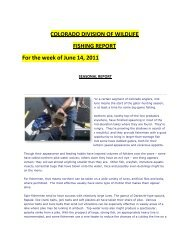 COLORADO DIVISION OF WILDLIFE FISHING REPORT For the ...