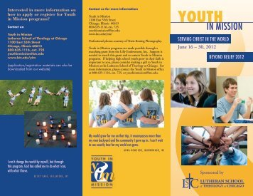 SERVING CHRIST IN THE WORLD BEYOND ... - Youth in Mission