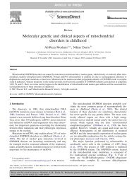 Molecular genetic and clinical aspects of mitochondrial disorders in ...