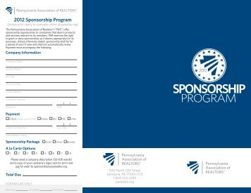 2012 Sponsorship Program - Pennsylvania Association of Realtors