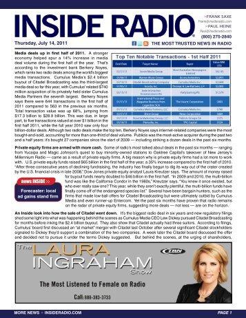 Thursday, July 14, 2011 news INSIDE >>