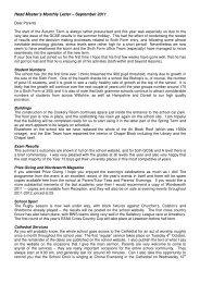 Head Master's Monthly Letter – September 2011 - Bishop ...