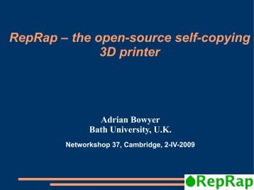 RepRap – the open-source self-copying 3D printer