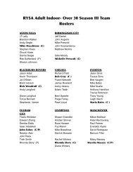 RYSA Adult Indoor- Over 30 Season II Team Rosters