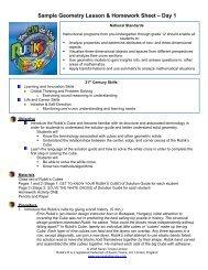 Sample Geometry Lesson & Homework Sheet – Day 1 - For Teachers
