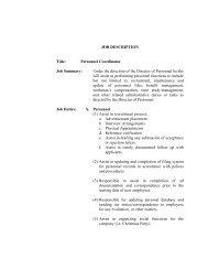 JOB DESCRIPTION Title: Personnel Coordinator Job Summary ...