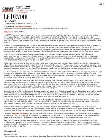 Le Devoir - Réseau des écoles publiques alternatives du Québec