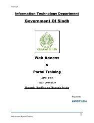 Web Access and Portal Training - Sindh.gov.pk