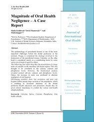 Magnitude of Oral Health Negligence – A Case Report - Ispcd.org