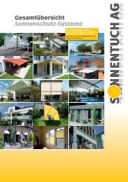 Gesamtübersicht Sonnenschutz-Systeme - Sonnentuch AG