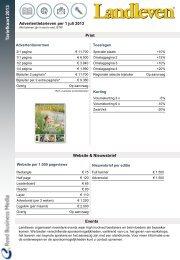 Tariefkaart Landleven - Adverteren bij Reed Business