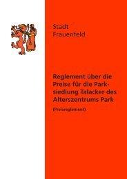 Reglement Parksiedlung Talacker - Alterszentrum Park