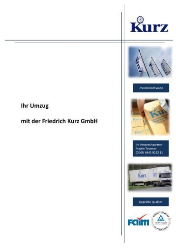 Import Informationen - Friedrich Kurz GmbH