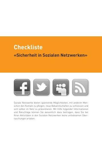 Flyer Checkliste Ã'Â«Sicherheit in Sozialen Netzwerken - Kanton Basel ...
