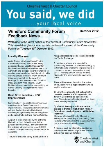 Winsford YSWD Newsletter October 2012 - West Cheshire Together