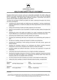 HEALTH AND SAFETY POLICY STATEMENT - Oswestry School