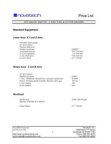 Price List - Novatech Inc.