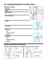 5-1 Study Guide and Intervention Graphing Quadratic