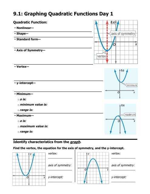 9.1: Graphing Quadratic Functions Day 1