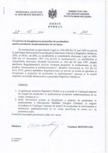Ordinul Ministerului Sănătăţii RM nr. 830 din 22.12