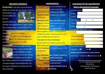 DER ERSTE EINDRUCK Anmeldung für die Jugendfreizeit 2013 in ...