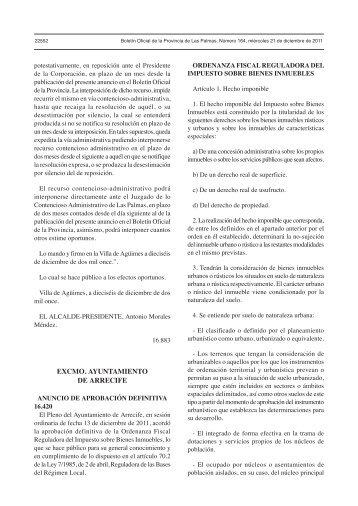 Ordenanza reguladora del impuesto de bienes inmuebles