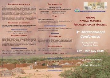 Third announcement, English Flyer (March 2009) - AMMA