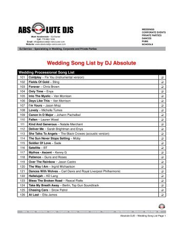Wedding Song List by DJ Absolute - Absolute DJS