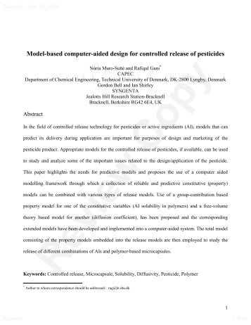 Model-based computer-aided design for controlled release ... - CAPEC