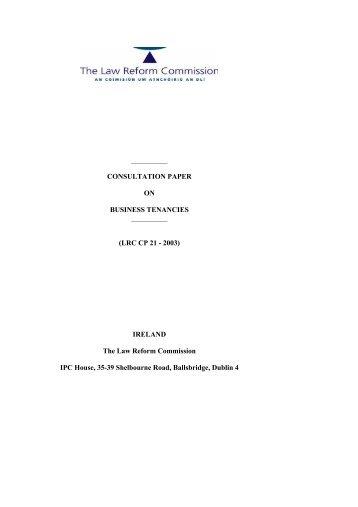 CONSULTATION PAPER ON BUSINESS TENANCIES - Law Reform ...