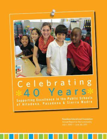 PEF 2011 Annual Report - Pasadena Educational Foundation